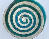Ceramic Bowl Turquoise and White Raku Spiral Bowl