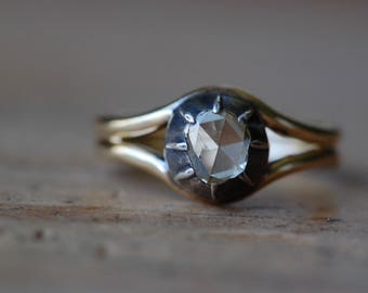 Antique Georgian rose cut diamond engagement ring .33 carat with modern band