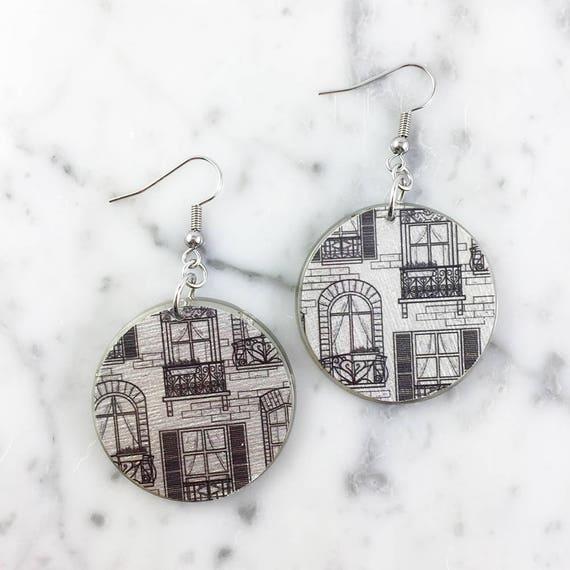 Resin earrings, black, window, gray, unique, handmade, sold, earring, hypoallergenic hook