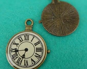 20%off  2pcs (30mm) Antique Bronze Clock Pendant / Charms (30x 40mm)