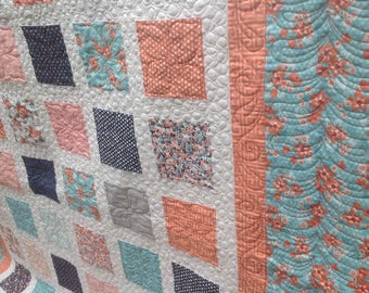 Simply SWEET MARION 54x60 quilt in navy, gray, peach and turquoise