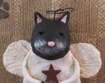 Black Cat Angel Ornament,OOAK,handmade paper mache,Black CAT ANGEL