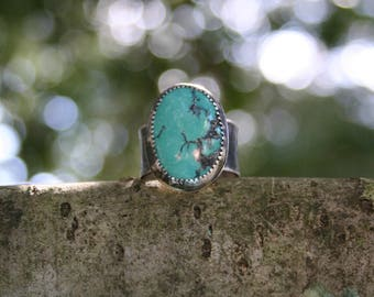Turquoise Sterling Silver Oxidized Boho Gypsy Wide Band Aritisan Woodland Rustic Silversmith Artisan Ring