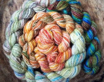 Mini skeins chain of handspun shawl yarns - mixed wool - 110gr 500m