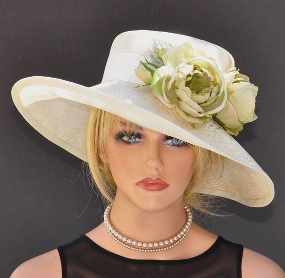 Wedding hat, Kentucky Derby Hat, Ascot hat, women's cream straw hat, mother of bride hat, formal hat, dressy hat garden party hat, tea hat,