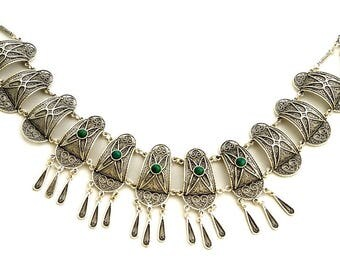 925 Sterling Silver Yemenite Filigree Necklace Set with Eilat Stone