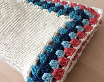 Aqua Coral Crochet Baby Blanket Alpaca Wool Baby Blanket Crib Blanket Stroller Blanket Knitted Newborn Girl Baby Gift by Warm and Woolly