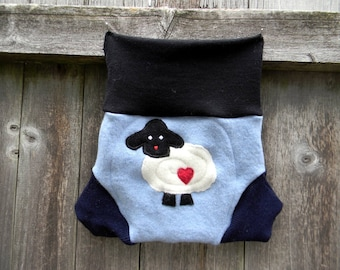 Upcycled  Merino Wool Soaker Cover Diaper Cover With Added Doubler Navy Blue/ Black /Light Blue With Sheep Applique MEDIUM 6-12M Kidsgogreen