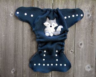 Upcycled Merino Wool Nappy Cover Diaper Cover Wool Wrap Cloth Diaper Cover One Size Fits Most Teal With Wolf Applique / Gray