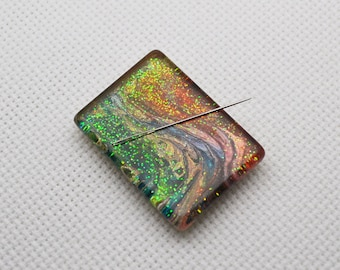My Favorite Glass Needle Minder with Miniature Painting - OOAK - 30x22mm Rectangle, Rare Earth Magnet