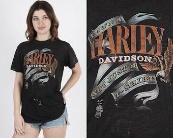 3D Emblem T Shirt Harley T Shirt Harley Davidson Shirt 3d Harley Shirt Vintage 80s Motorcycle Biker Owner NM Double Sided Dealer Tee T Shirt
