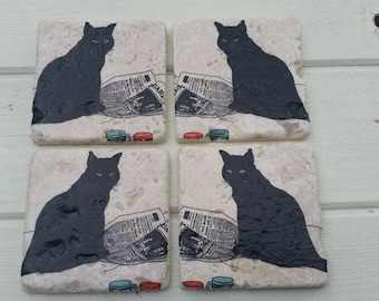 The 'Guardian' Cat Stone Coaster Set of 4 Tea Coffee Beer Coasters