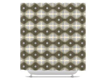gray and brown shower curtain. geometric shower curtain, brown curtains, ikat diamond pattern, bathroom gray and curtain t