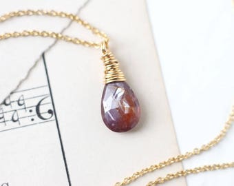 Red Fancy Sapphire Necklace Wire Wrapped in 14k Gold Filled Necklace, September Birthstone