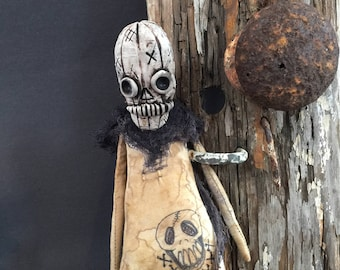 OOAK Klopp Extreme Primitive Folk Art Doll Goth Skull Day of the Dead Halloween Softie Macabre Creepy Cute Free Shipping USA