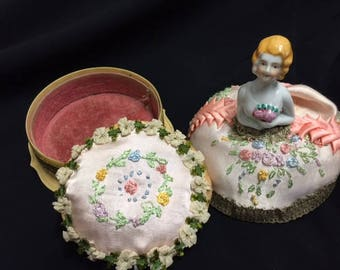 Vintage Half Doll Powder Puff Box, Ribbonwork and French Knots, 3 pcs (FFs1022)