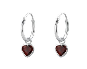 Hanging Heart  925 Sterling Silver Ear Hoops