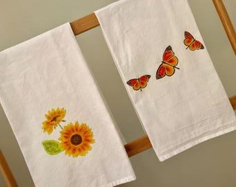 Flour Sack Towel, Kitchen Towel Set, Natural Cotton Towels, Monarch Butterflies, Sunflowers, House Warming Gift, Garden Theme