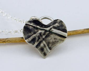 Tiny Heart Lots of Love Sterling Silver Fold Formed Pendant and Sterling Silver Chain Contemporary Artisan Jewelry Design 8179441682917