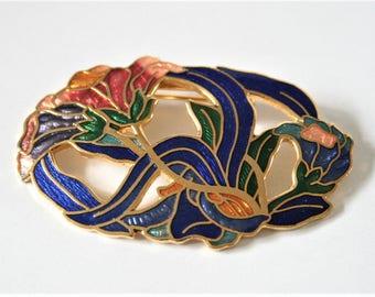 Vintage enamel flower brooch.  Cloisonne brooch