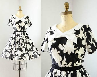 40% OFF SALE - Vintage 1950's Black & White Floral Dress