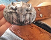 Siskiyou Native American pewter Belt Buckle Buffalo Skull Feathers Sunburst U-40 with Hand tooled Brown Leather BELT