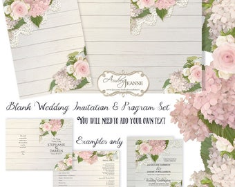 PERSONAL USE Weddings Rustic Wood Pink Roses n Hydrangea Lace Invitation Layout Program n Invite Collection Hand Painted Art E17-03A-Person