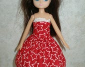 """Handmade 7"""" doll clothes for Lottie - red and white star print dress"""