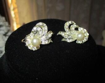 Vintage AB & Pearl Rhinestone Costume Earrings-Soft-Screw Back-Hollywood Glam-Retro-Mid Century-Coro