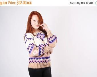 On SALE 35% Off - Pastel Aztec Sweater - Vintage Navajo Sweater - Pendelton Sweater - The Campfire Sweater - 5083