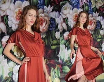 On SALE 35% Off - Goddess Vintage 1970s Elegant Rust and Pink Drape Mid Length Boho Disco Dress - 70s Clothing - WV0424