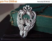 HugeSale 25%off Double Peacock necklace--- in aged sterling silver plated brass