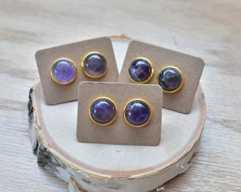 20% EARRING STUD SALE Gold Round Amethyst Bezel 12mm Stud Earrings/ Purple Amethyst Large Round Cabochon Gold Studs/ Natural Stone Gemstone