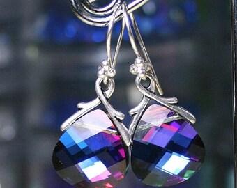 ON SALE Swarovski Briolette Crystal Earrings in Bermuda Blue - Blue Rainbow - Swarovski Crystal and Sterling Silver