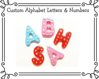 Custom Cold Porcelain Clay Alphabet Initial or Number, Ornament, Pendant, Bow Center, Purse Charm, Keychain, Brooch, Personalized Jewelry
