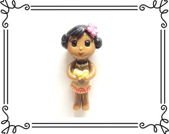 Cold Porcelain Clay Baby Moana Figurine, Pendant, Ornament, Purse Charm, Bow Center, Brooch, Magnet /DIY Princess Moana Necklace, Jewelry