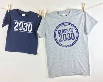 Class Of - Youth First Day of school shirt and Adult Shirt for Pics throughout the years