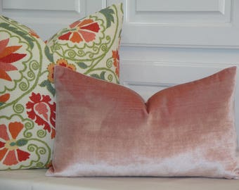 VELVET Both Sides in Coral Pink - Decorative Pillow Cover - Pink Pillow - Chair Pillow - Lumbar Pillow - Accent Pillow
