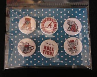 Alabama Crimson Tide Pin Back Buttons, Roll Tide Buttons, Alabama Buttons, Pin Back Buttons, Magnets, Novelty Buttons, Novelty Pins