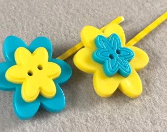 Bright yellow and blue flower button bobby pins