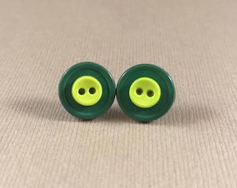 Stud earrings, green, button, light green, dark green studs