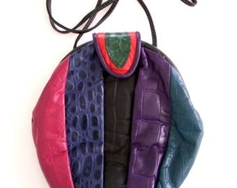 Vintage 80s Patchwork Leather Purse - 1980s Round Patchwork Shoulder Bag in Red, Green, Black & Purple Reptile - Round 80s Purse