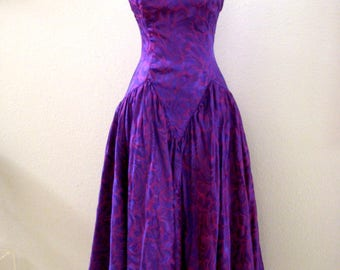 Vintage 80s Purple Prom Dress - Strapless Purple Cocktail Dress by TD4 Electra - 1980s Satin Evening Dress - Size Small to X Small estimated