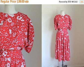AWAY SALE 20% off vintage novelty print dress - DRESS Maker sewing notion print dress / L