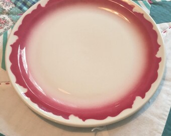 Vintage Dinner Plate Red Scroll Wallace California Restaurant Ware Made in The USA #4186