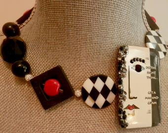 Get A Mammogram Necklace - Donation to Susan Koman Foundation -Artisan Made- Wearable Art-- Unique- Fabulous- Black - White- Red