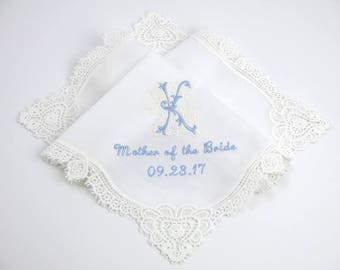 Wedding Handkerchief / wedding hankerchief / Mother of the Bride Handkerchiefs / Wedding Hankie with Mother of the Groom/ hankerchiefs