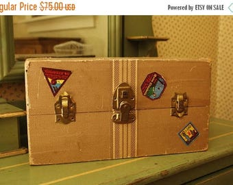 """MOVING SALE Vintage 1940's Large Doll Trunk with Travel Labels, Antique Doll Case, Striped """"Tweed"""" Steamer Trunk, Vintage Doll Travel Steame"""