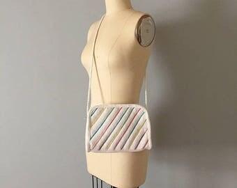 25% OFF SALE... RAINBOW stripes woven bag // cross body woven straw zipper purse
