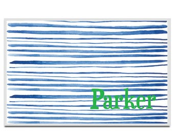 Personalized placemat Reversible hand drawn blue watercolor stripes custom name monogram
